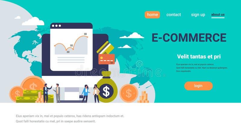 La gente dell'icona della moneta del dollaro di concetto di ricchezza della crescita del grafico dei soldi di affari di commercio illustrazione di stock