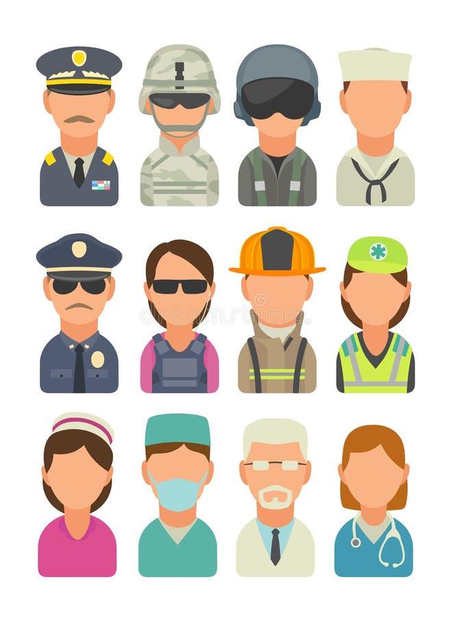 La gente dell'icona - soldato, ufficiale, pilota, marinaio, marinaio, polizia, guardia del corpo, vigile del fuoco, paramedico illustrazione vettoriale
