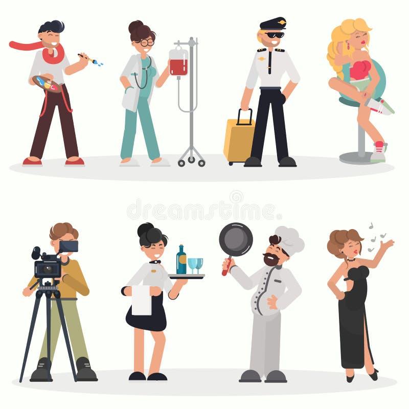 La gente dell'insieme piano dell'illustrazione di colore differente di professioni illustrazione di stock