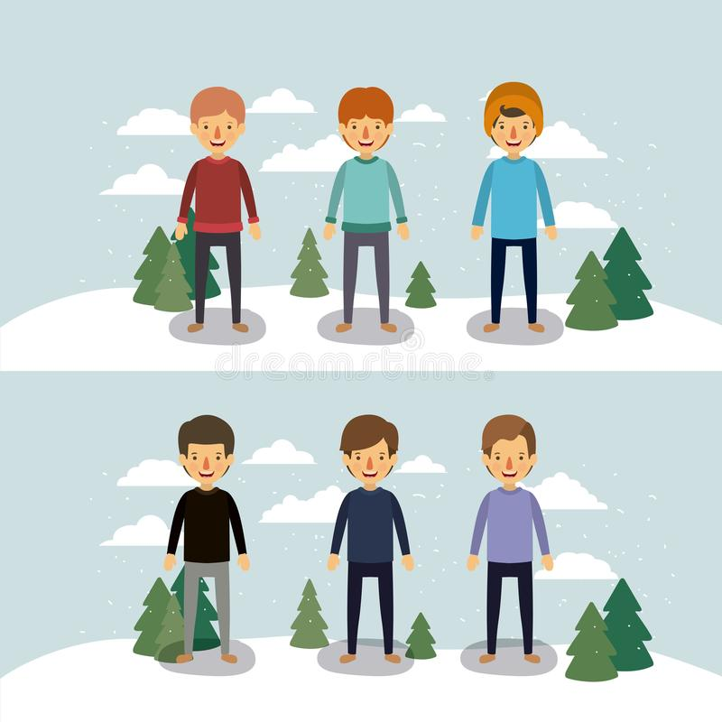 La gente dell'inverno con due scene degli uomini con i maglioni e l'inverno copre in paesaggio con neve e pini in variopinto illustrazione vettoriale