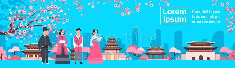 La gente della Corea in costumi tradizionali sopra la vista del punto di riferimento di Sakura Trees South Korean Famous del paes illustrazione vettoriale