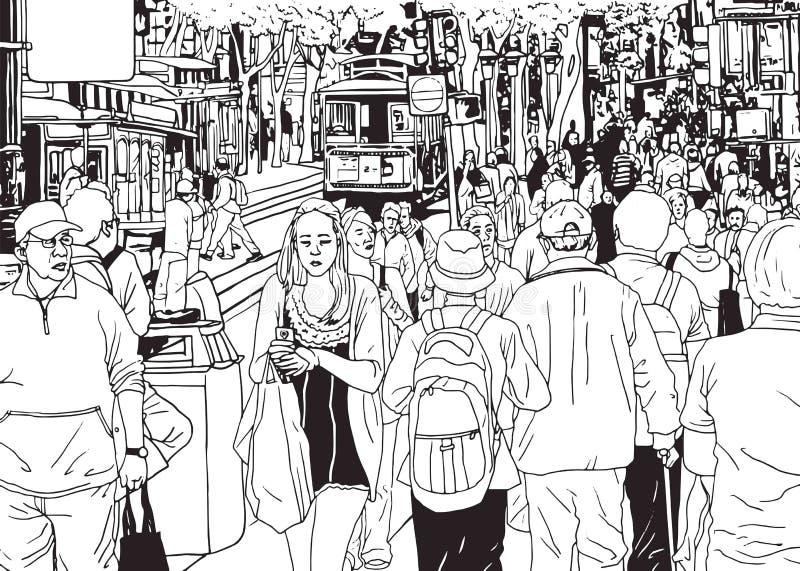 La gente della folla della via che cammina dalla via della città illustrazione vettoriale