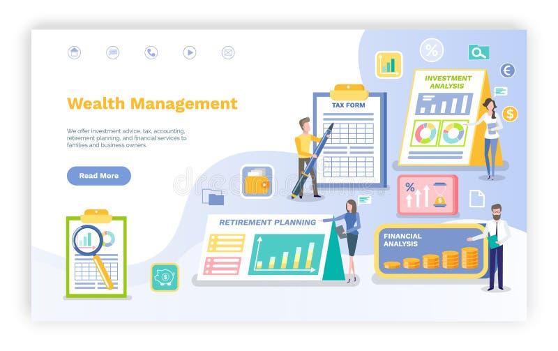La gente della gestione di ricchezza con il web di Infographics illustrazione di stock