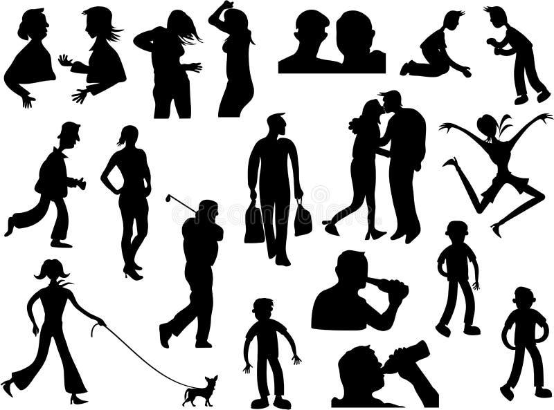 La gente della siluetta illustrazione vettoriale