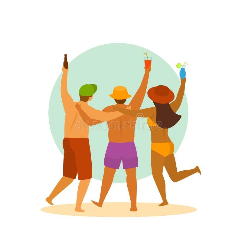 La gente della spiaggia di ora legale, tre amici ha partito, celebrante, illustrazione di vettore isolata fumetto di vista della  illustrazione vettoriale