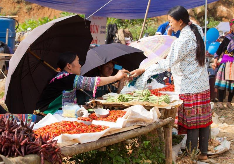 La gente della tribù di Hmong che vende peperoncino ed altri prodotti di agricoltura fotografie stock libere da diritti