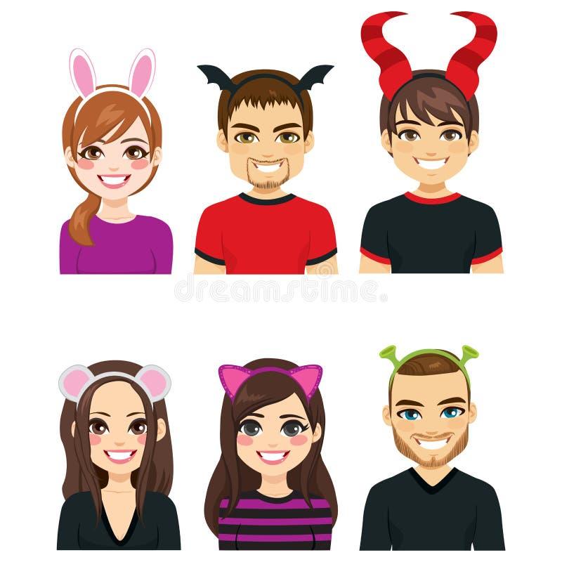 La gente delle fasce di Halloween illustrazione di stock
