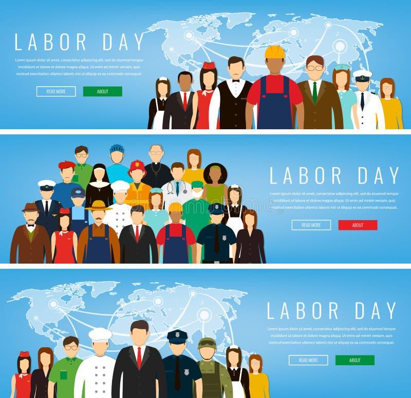 La gente delle occupazioni differenti Professioni fissate Festa del lavoro internazionale illustrazione vettoriale