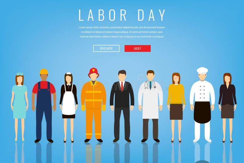 La gente delle occupazioni differenti Professioni fissate Festa del lavoro internazionale Modello del sito Web di concetto Vettor illustrazione di stock