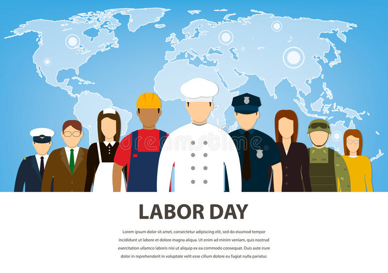 La gente delle occupazioni differenti Professioni fissate Festa del lavoro internazionale Vettore piano illustrazione vettoriale