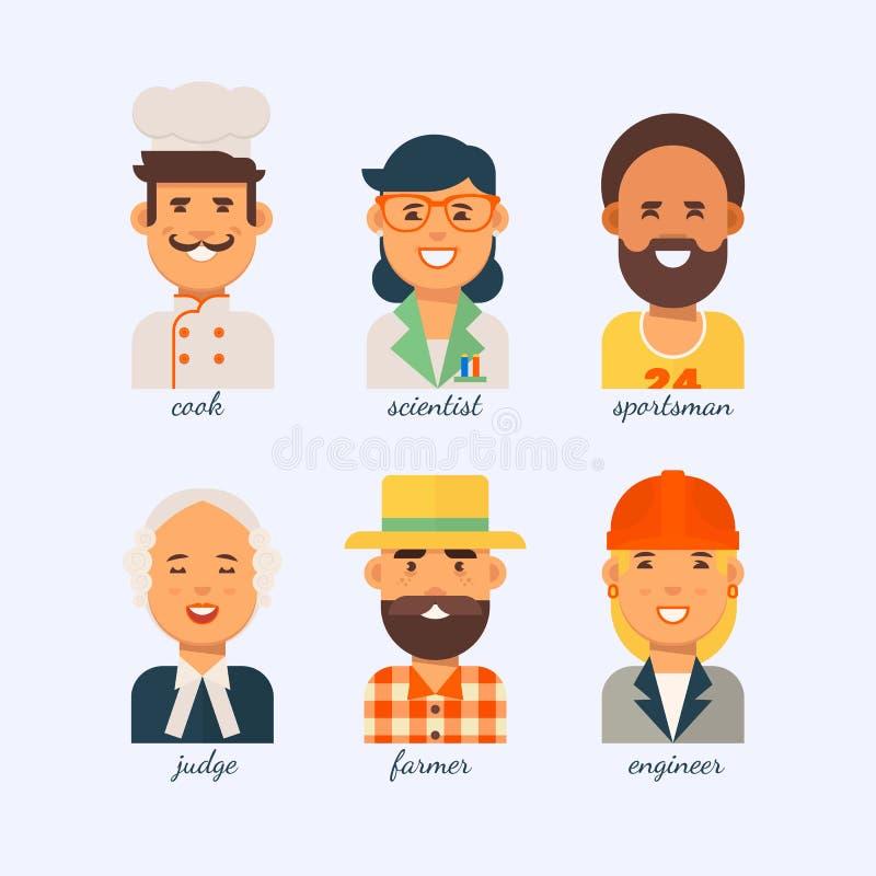 La gente delle professioni differenti su un fondo bianco illustrazione vettoriale