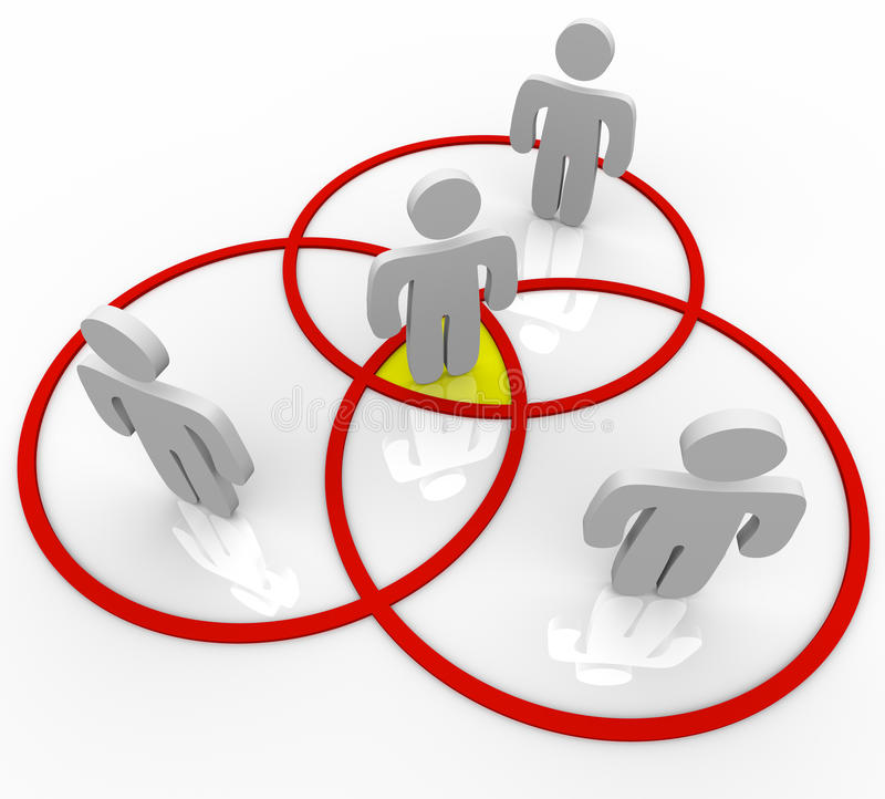 La gente dello schema di Venn nei cerchi di sovrapposizione illustrazione di stock