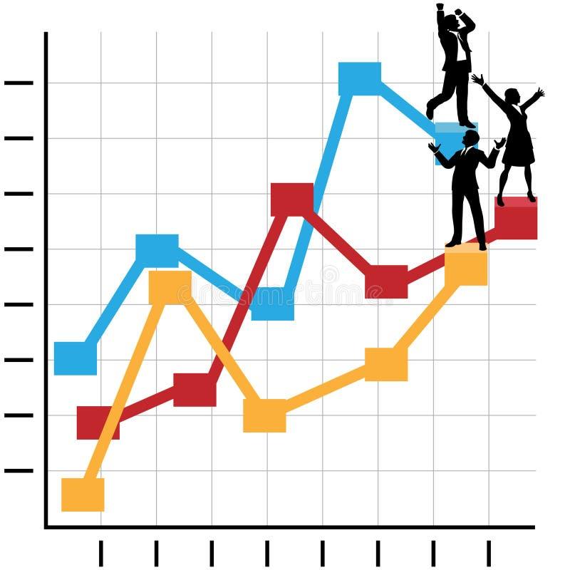 La gente di affari celebra il successo sul diagramma illustrazione di stock