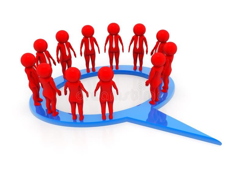 La gente di affari del circolo ristretto parla il raduno in un fumetto sociale della rete di media isolato nel fondo bianco illustrazione di stock