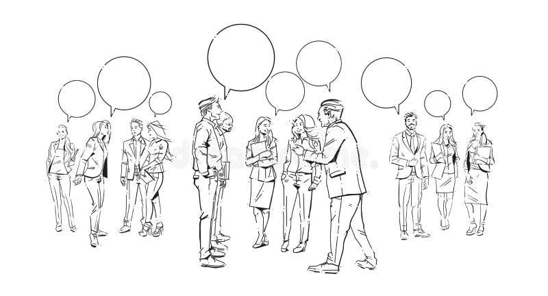 La gente di affari delle bolle di comunicazione chiacchiera, accordo davanti ai colleghi della discussione delle persone di affar royalty illustrazione gratis