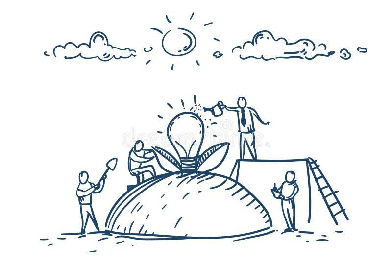 La gente di affari fornisce un nuovo concetto della lampada della luce di 'brainstorming' del gruppo di idea sopra lo scarabocchi illustrazione vettoriale