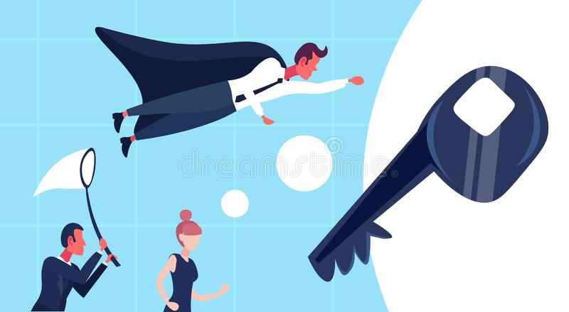 La gente di affari ha vestito la farfalla del mantello del supereroe la prova della rete che ottiene l'uomo chiave della donna di illustrazione di stock
