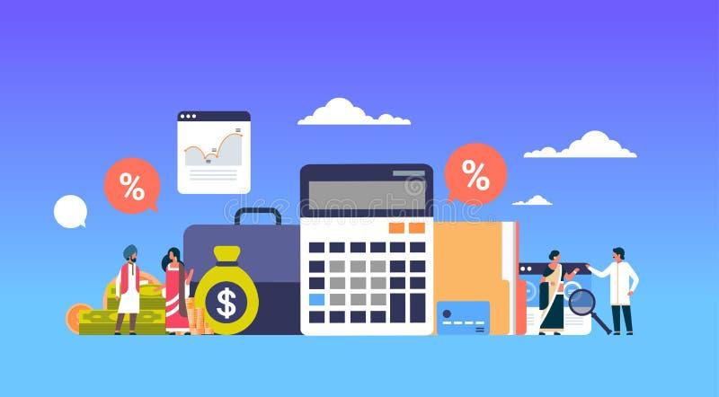 La gente di affari indiana finanzia l'orizzontale piano del grafico di concetto dell'analisi del calcolatore di lavoro di squadra illustrazione di stock