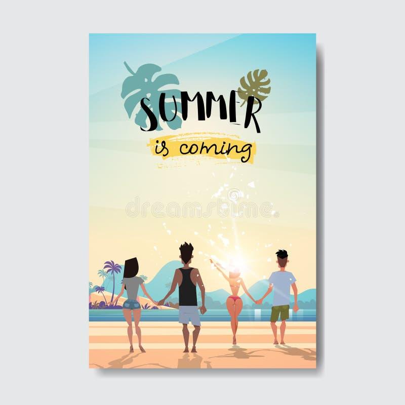 La gente di amore dell'estate che si tiene per mano lo sguardo della retrovisione dell'alba si rilassa l'etichetta di progettazio illustrazione di stock