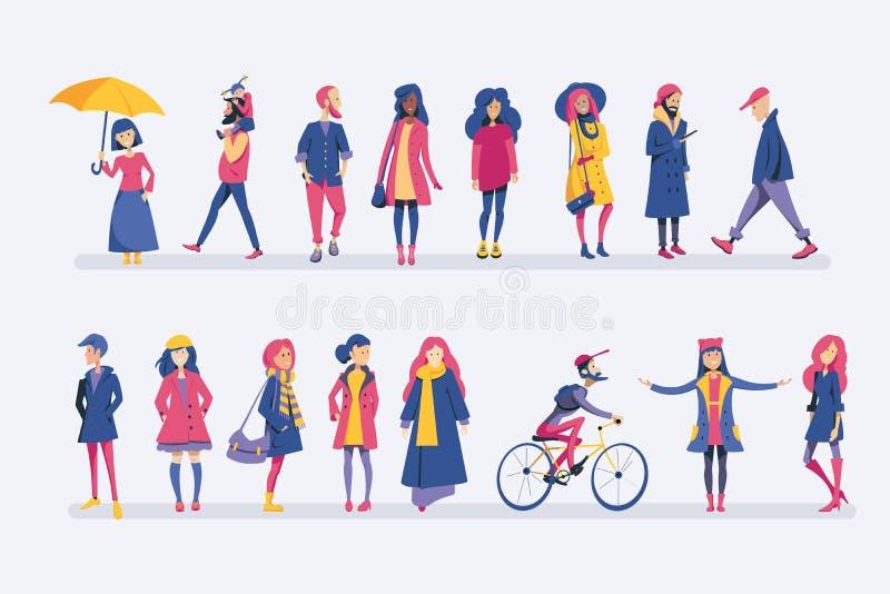 La gente di autunno insieme illustrazione vettoriale