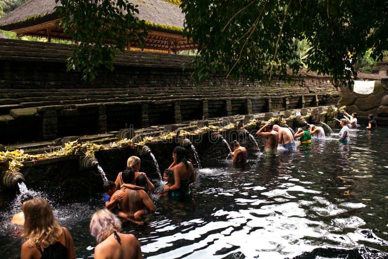 La gente di balinese che prega in acqua sorgiva santa dello stagno sacro a Pura Tirta Empul Temple, Tampaksiring, BALI, INDONESIA fotografie stock libere da diritti