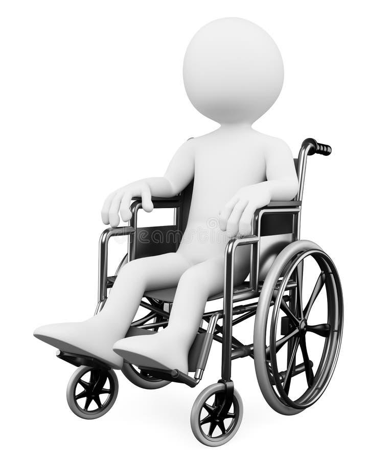 la gente di bianco 3D. Andicappato illustrazione vettoriale