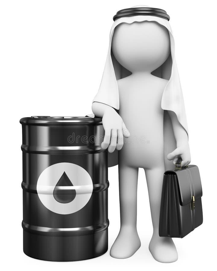 la gente di bianco 3D. Uomo arabo con un barile di petrolio illustrazione vettoriale