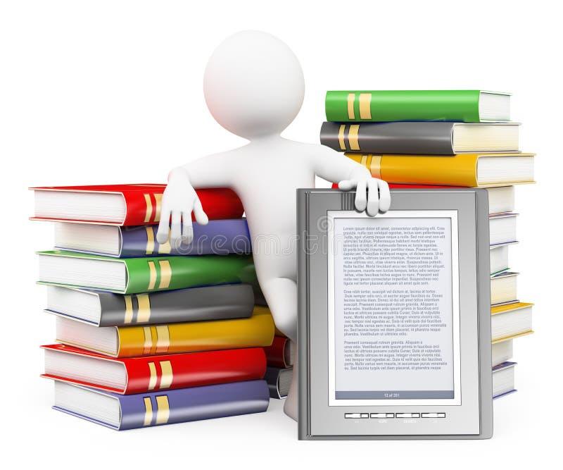 la gente di bianco 3d Concetto del lettore del libro elettronico royalty illustrazione gratis