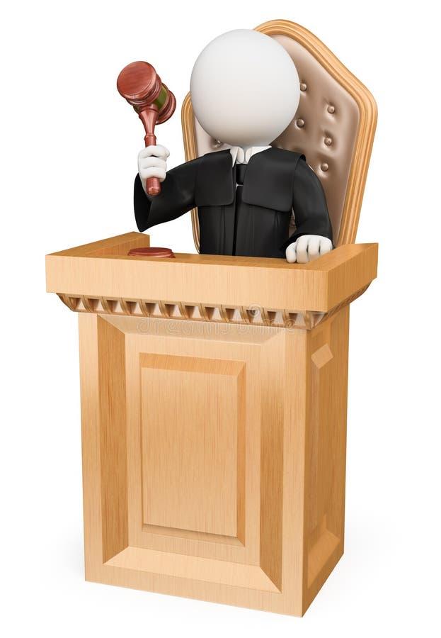 la gente di bianco 3d Giudice che condanna in tribunale illustrazione di stock