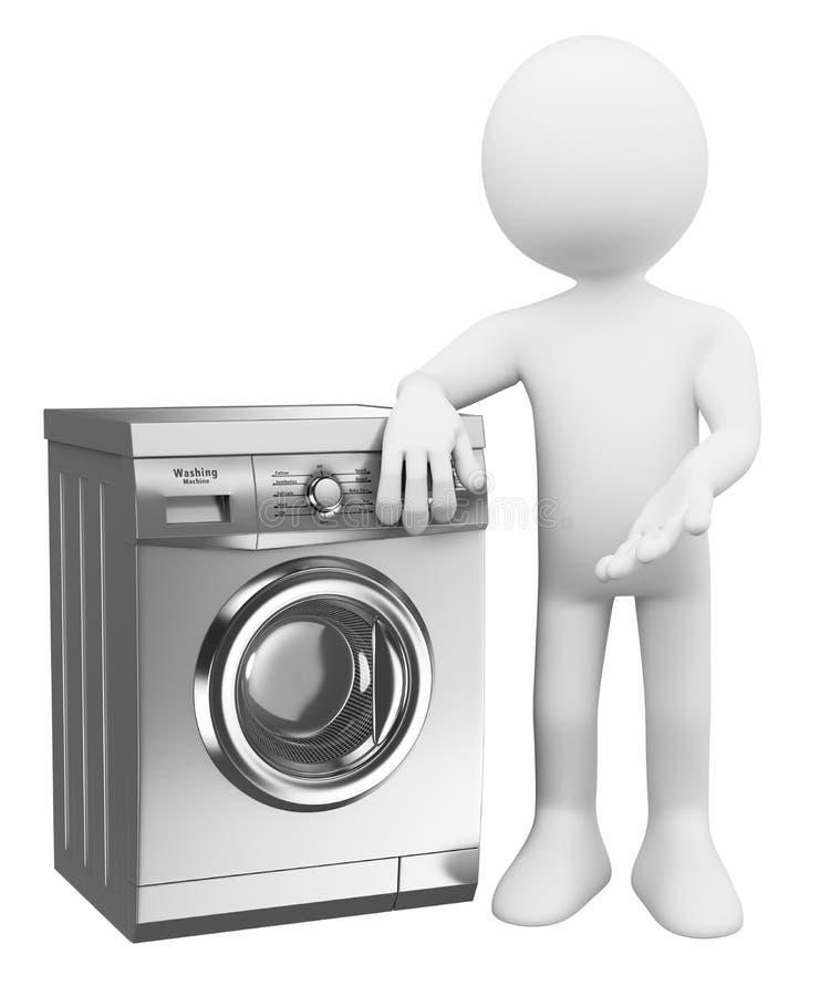 la gente di bianco 3d Lavatrice moderna illustrazione di stock