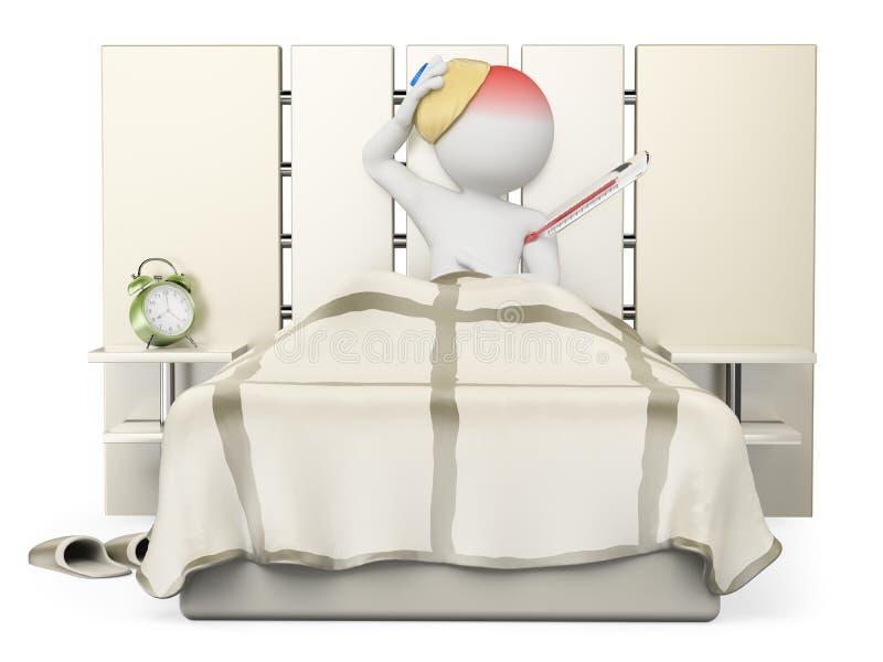 la gente di bianco 3d Uomo che si trova a letto con l'influenza e la febbre illustrazione vettoriale