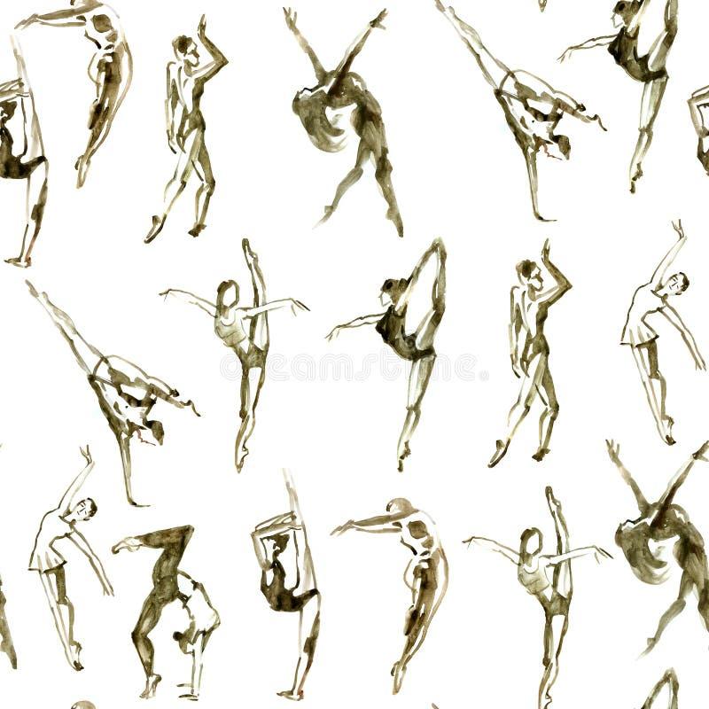 La gente di dancing di seppia Modello senza cuciture strutturato dell'acquerello illustrazione vettoriale