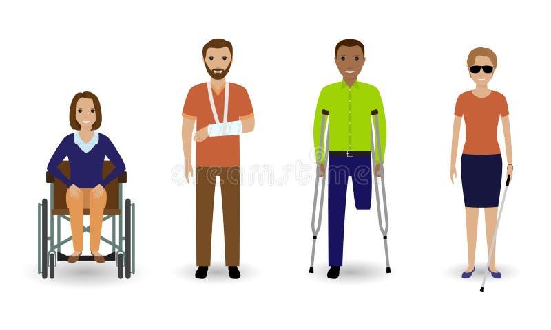 La gente di inabilità Gruppo di uomini e di donne invalidi su un fondo bianco illustrazione di stock