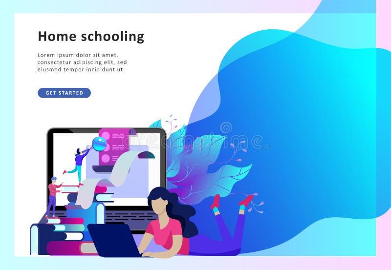La gente di istruzione di concetto, Internet studiante, online preparandosi, libro online illustrazione di stock