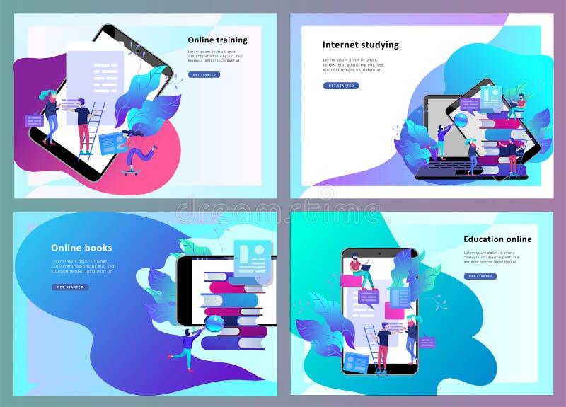 La gente di istruzione del modello della pagina di atterraggio di concetto, Internet studiante, online preparandosi, libro online illustrazione vettoriale