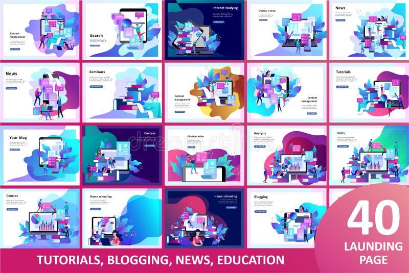 La gente di istruzione del modello della pagina di atterraggio di concetto, Internet studiante, online preparandosi, libro online royalty illustrazione gratis