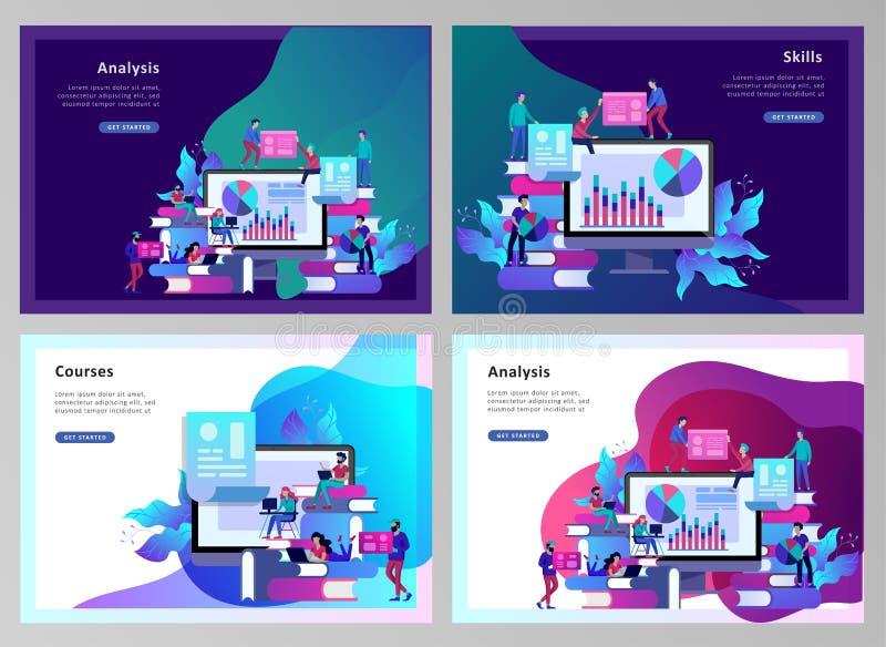 La gente di istruzione del modello della pagina di atterraggio di concetto, Internet studiante, online preparandosi, libro online illustrazione di stock