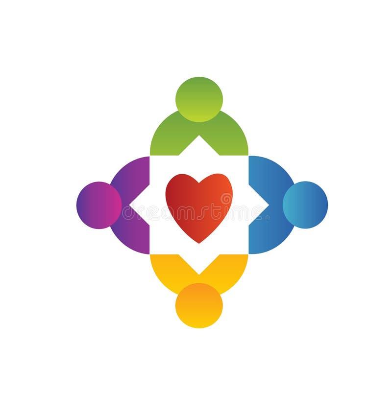 La gente di lavoro di squadra che circonda intorno al logo del cuore illustrazione di stock