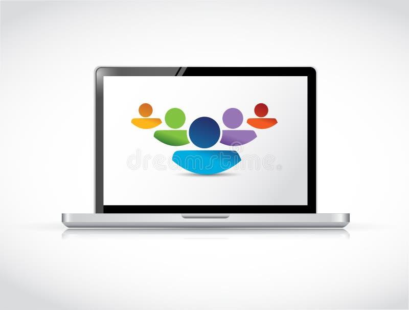 La gente di lavoro di squadra che lavora insieme online. computer portatile royalty illustrazione gratis