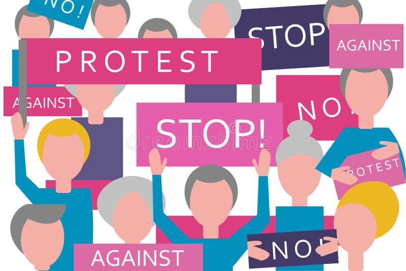 La gente di protesta di Croud con le insegne ed i cartelli Riunione politica e raduno attivisti e dimostranti royalty illustrazione gratis