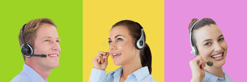 La gente di servizio di assistenza al cliente della call center nelle sezioni quadrate variopinte immagini stock