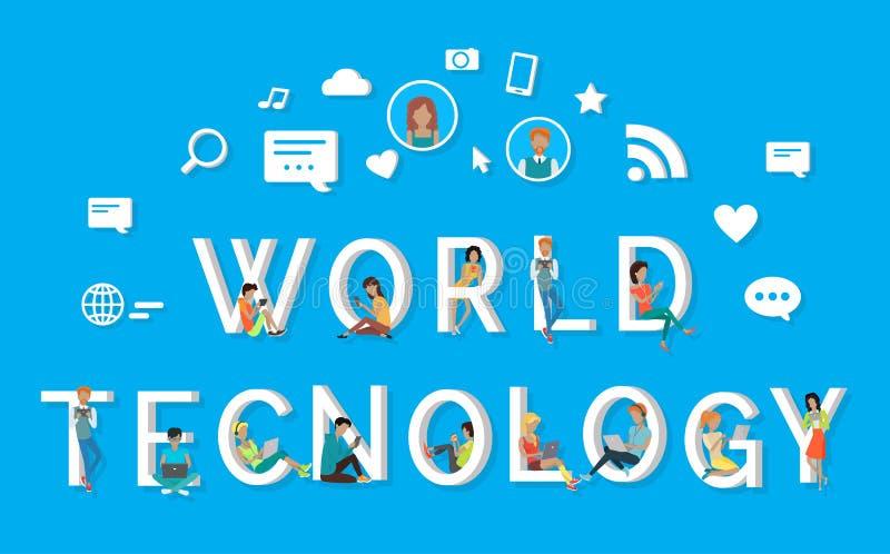 La gente di tecnologia del mondo che per mezzo dei telefoni sulle lettere illustrazione di stock