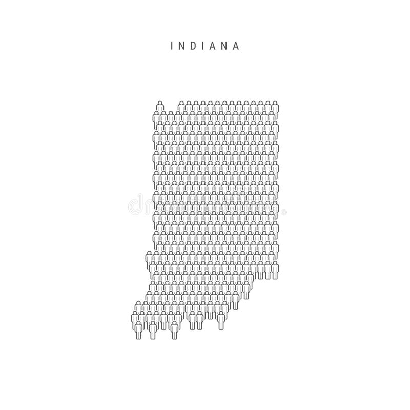 La gente di vettore traccia dell'Indiana, stato USA La siluetta stilizzata, la gente ammucchia Indiana Population illustrazione vettoriale