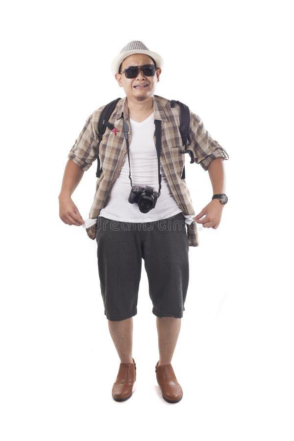 La gente di viaggio ha isolato su bianco Turista maschio Brok di viaggiatore con zaino e sacco a pelo immagine stock libera da diritti