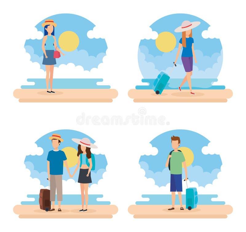 La gente di viaggio su progettazione della spiaggia illustrazione di stock