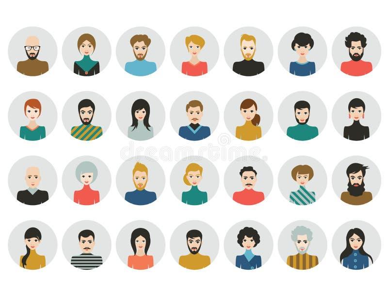 La gente dirige iconos Avatar de la cara Hombre, mujer en estilo plano stock de ilustración