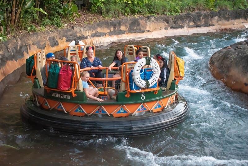 La gente divertendosi l'attrazione di Kali River Rapids al regno animale nell'area 4 di Walt Disney World immagini stock libere da diritti