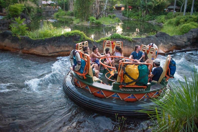 La gente divertendosi l'attrazione di Kali River Rapids al regno animale nell'area 3 di Walt Disney World fotografia stock libera da diritti