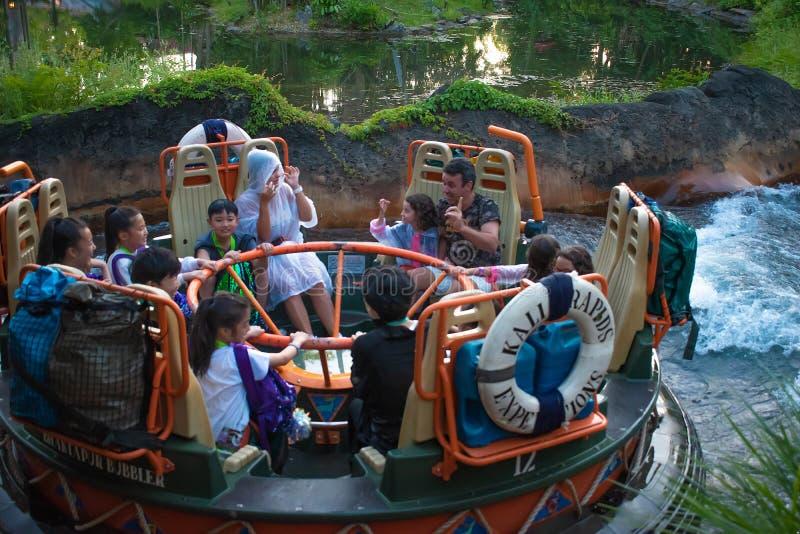 La gente divertendosi l'attrazione di Kali River Rapids al regno animale nell'area 10 di Walt Disney World immagine stock