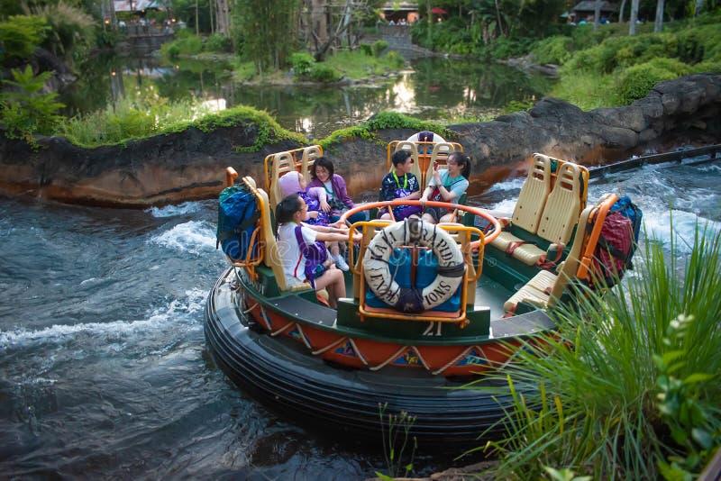 La gente divertendosi l'attrazione di Kali River Rapids al regno animale nell'area 1 di Walt Disney World fotografia stock libera da diritti
